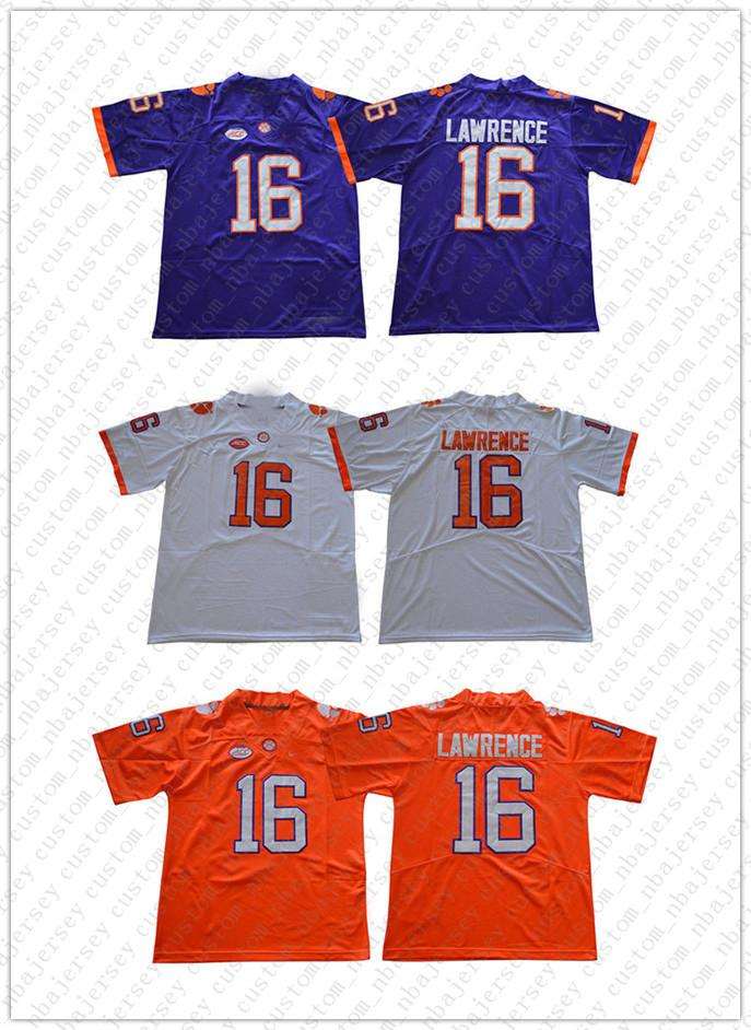 Günstige Großhandel Trevor Lawrence Jersey # 16 Clemson Tigers Jersey Fußball Jersey genähte Qualität S-3XL