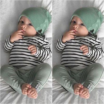 Новорожденный мальчик девочка футболка с длинным рукавом в полоску топы длинные брюки шляпа 3 шт. Комплект одежды милый ребенок хлопчатобумажная одежда рождественский подарок Y190515