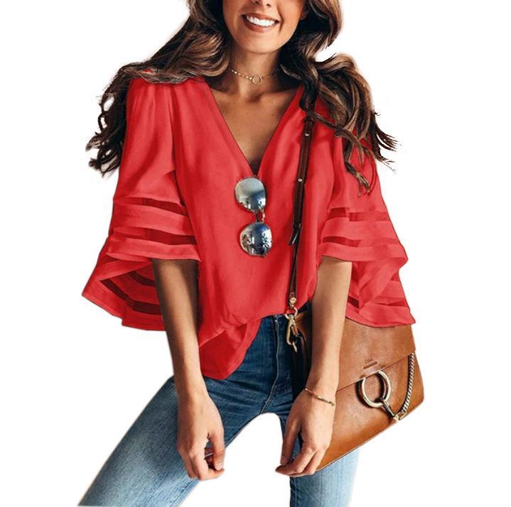 roupa das mulheres das mulheres camisetas Solta Grande tamanho da malha emenda V-neck Sino Sleeve Top Sólidos camisetas cair o navio