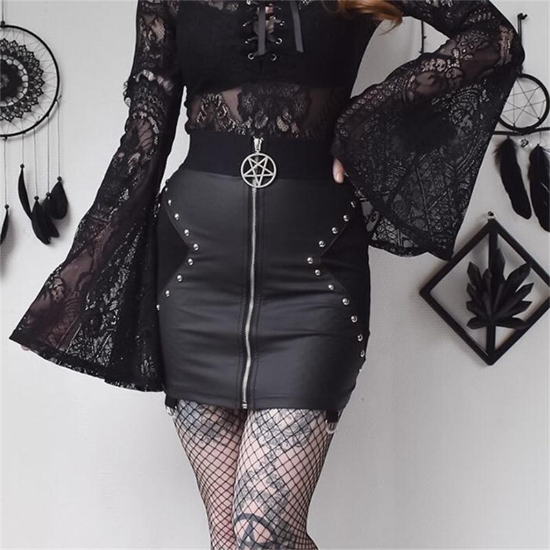 PU Leather Short Skirts Women Summer 2019 Bodycon Black Sexy Slim Rivet Skirt Gothic Punk High Waist Bodycon Pencil Mini Skirts LY191203