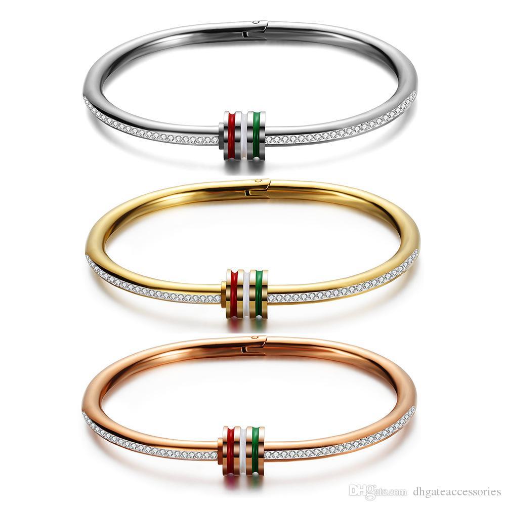 Titane Bracelet En Acier Trois-couleur Époxy Clouté Bracelet De Mode Bijoux Boutique Bracelets Bracelets Pour Les Femmes Fille Cadeau