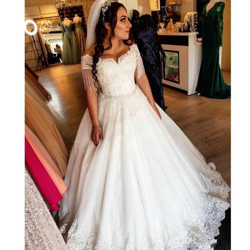 Урожай арабский Дубай линия Свадебные платья кисточкой втулки шнурка Аппликация Puffy Венчание платье Плюс Размер Свадебные платья Страна