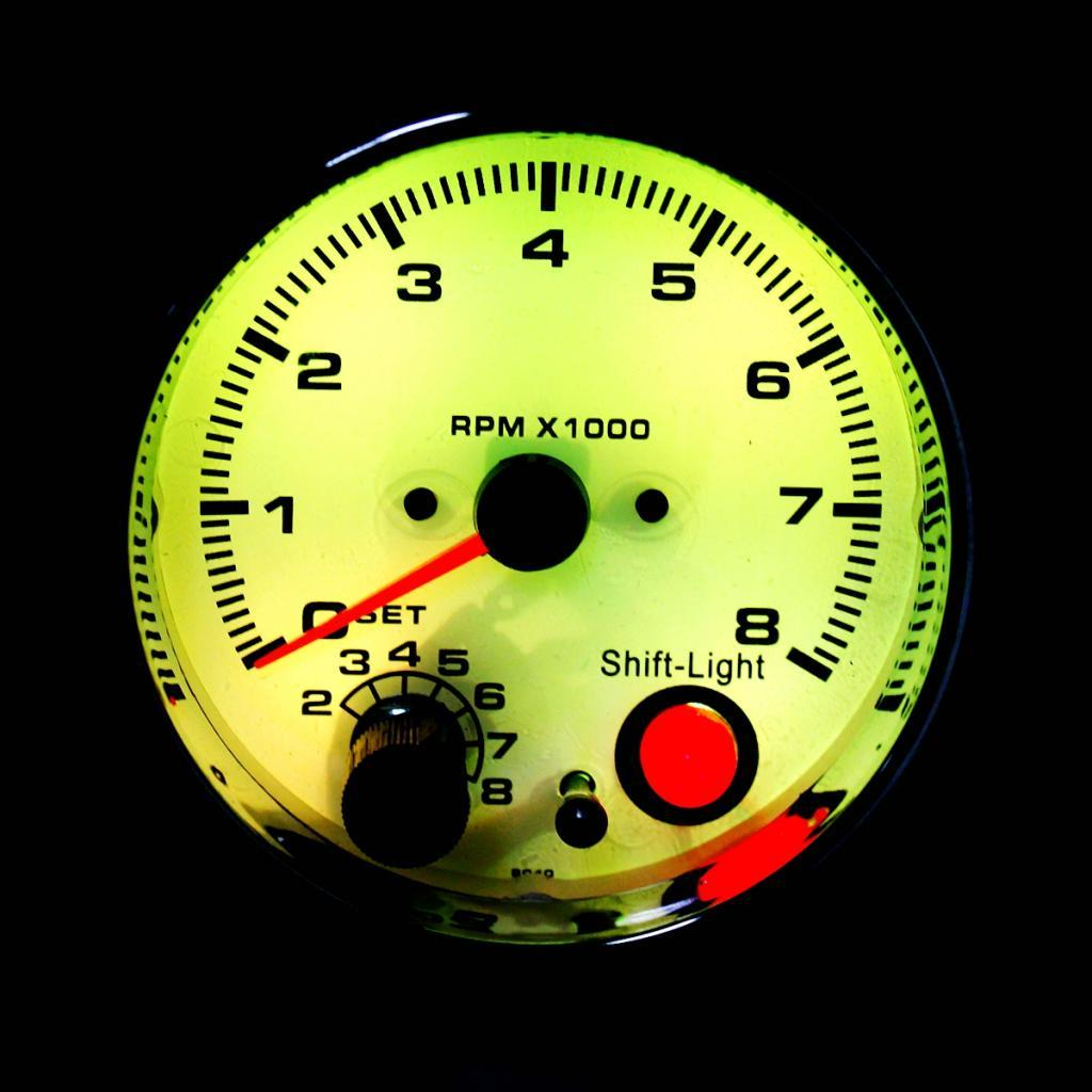 / 시프트 라이트 0-8000RPM w 3.75 인치 95mm 화이트 페이스 자동차 속도계 유속계 게이지