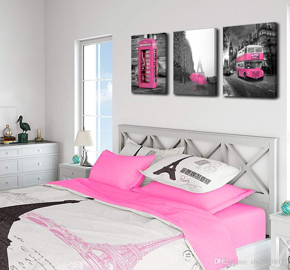 2019 Girls Pink Paris Theme Room Decor Wall Art Canvas Black And White Art  Eiffel Tower Pictures Decorations London Big Ben Tower Eiffel Tower Pa From  ...