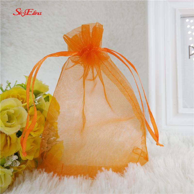 50pcs/lot 9x12cm organza bag wedding gift bag tulle fabric color jewelry packing Display bag&pouch favor bags 5zSH313