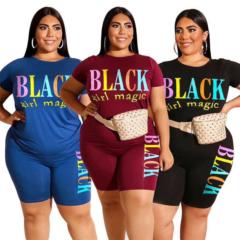 Женская мода шорты костюм черный Письмо печати с коротким рукавом Футболка Tops + Шорты 2 шт Набор Эпикировка Лето Плюс Размер Спортивная одежда
