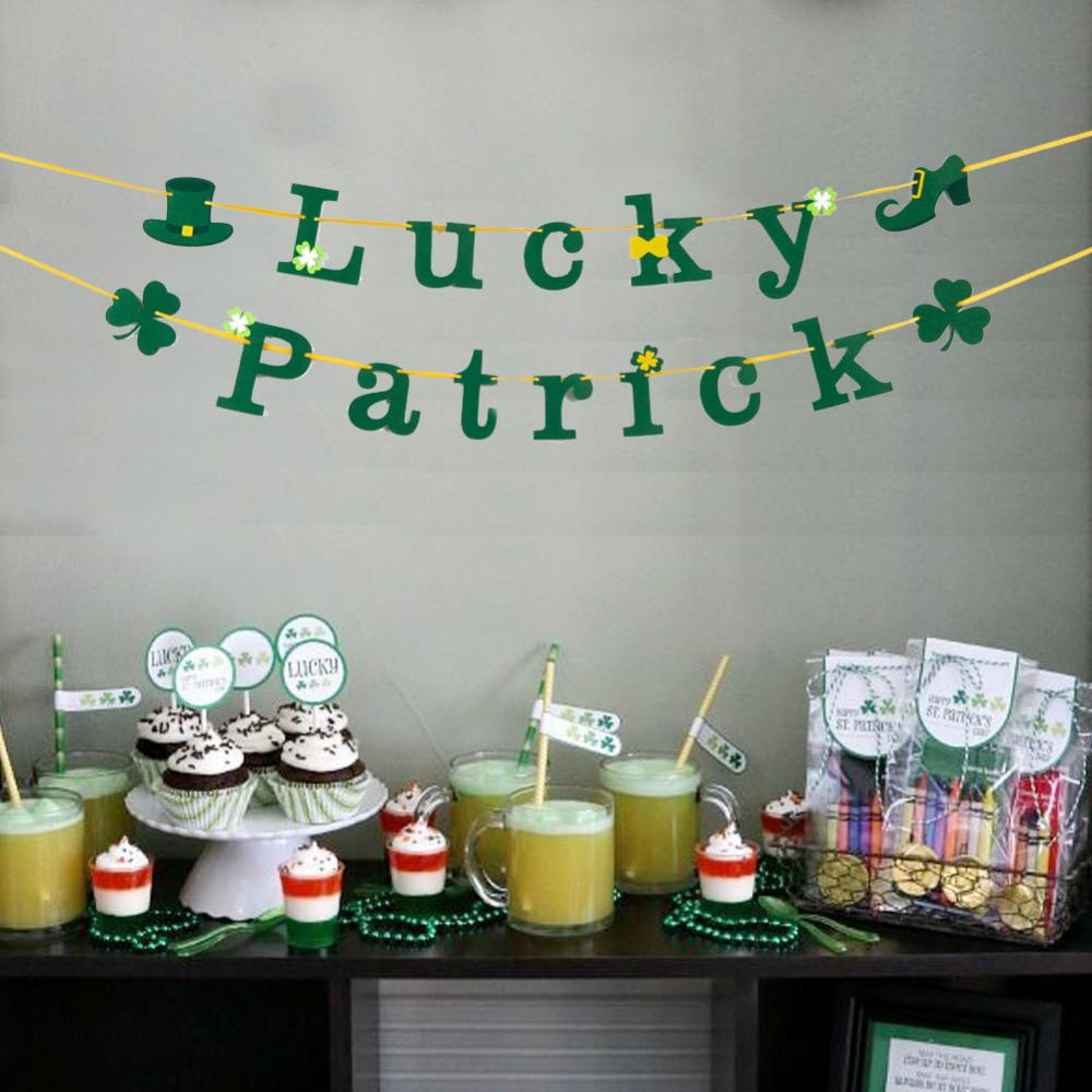 Felt Lucky Patrick Bannershamrock St Patricks Day Party Decorations Birthday Baby Shower Hanging Clover Garland Irish Party Theme Party Supplies