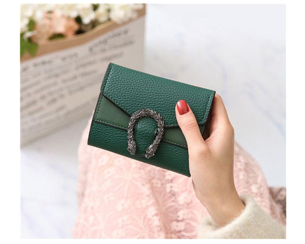 Diseñador-Carteras Pequeños Monedero corta femenina retro doble cambio negro de la cartera Rojo Verde Marrón color puro de la venta caliente mini para mujer Bolsas