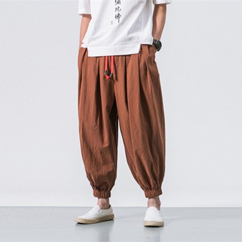 Модные мужские шаровары весна осень новый мужской хлопок льняные брюки китайский стиль свободные брюки ноги луча хип-хоп плюс размер 5XL