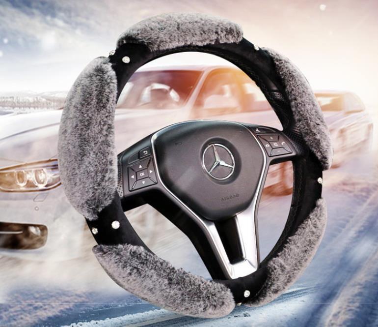 38 cm New Winter Plush Belt Drill Heating Cute Car Steering Wheel Cover, Rabbit Hair Handlebar Cover Fashion Lady