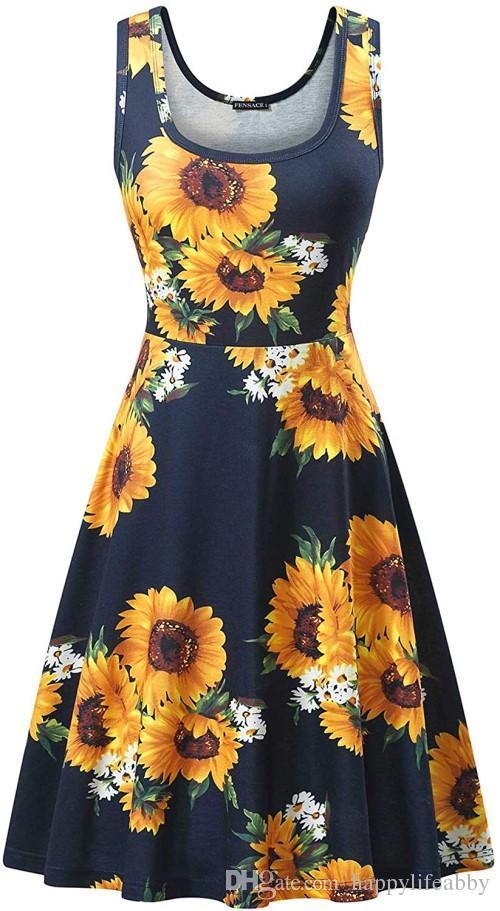 Yaz Kadın ayçiçeği kolsuz elbise çiçek baskı o-boyun A-line elbise bayan moda rahat salıncak T gömlek elbise