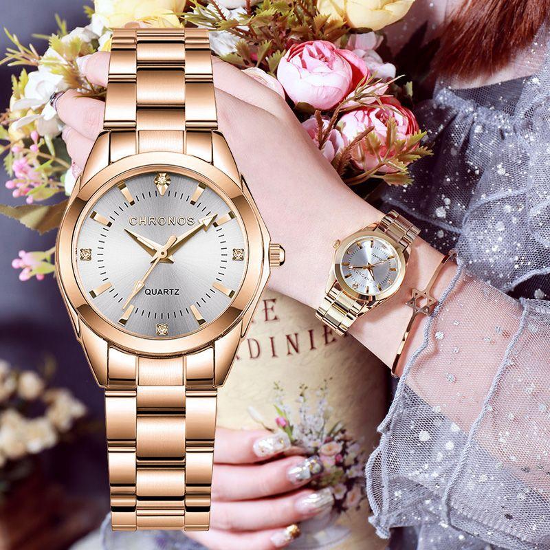 Розовое золото Женщины браслет часы Top Brand Мода Элегантные дамы наручные часы из нержавеющей стали японские кварцевые часы Подарки