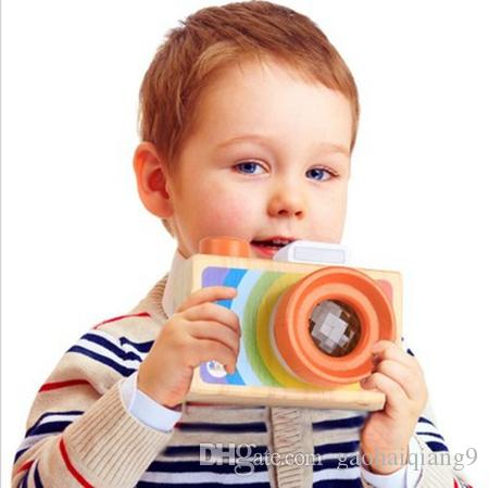 Geekking مصغرة لعبة خشبية الكاميرا للأطفال مونتيسوري التعليمية لعبة طفل صبي فتاة هدية عيد نتظاهر اللعب مصور لعبة