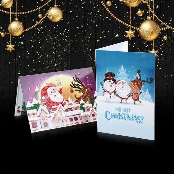 Cartoon Christmas Diamond Greeting Card Small Santa Claus Deer Elk Merry Christmas Postcard New Year Gifts Card