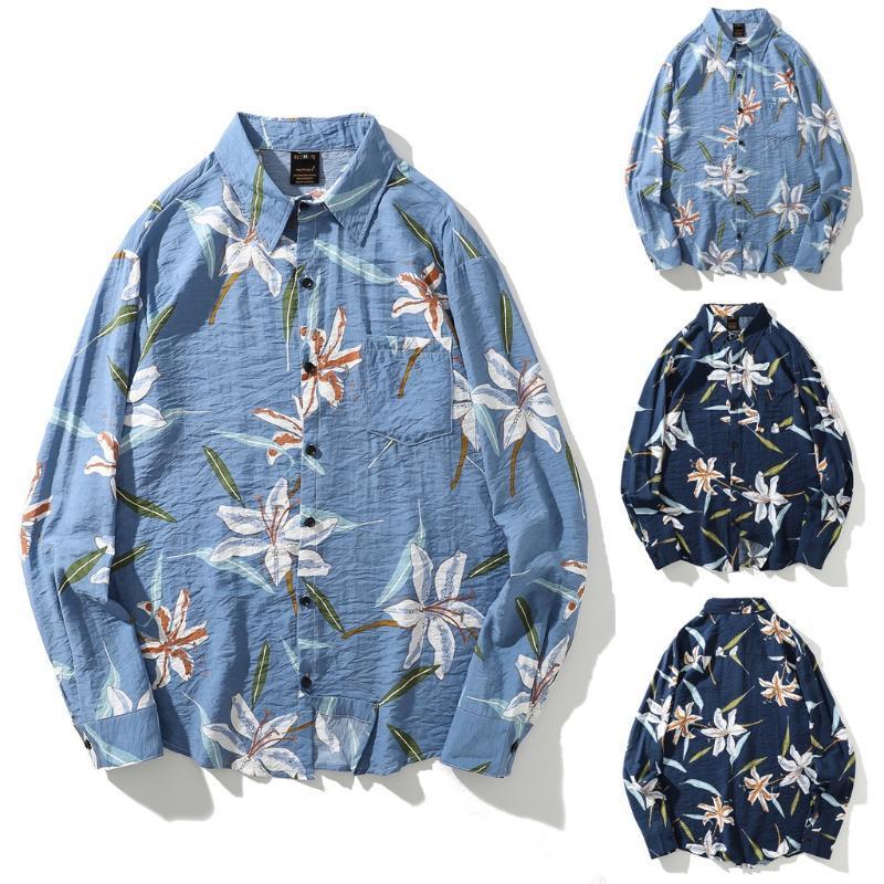 Мужские повседневные рубашки, вы уверены, что не нажимаете и не видите? Мужская осень мода с длинным рукавом напечатанные топы блузка рубашка оптом