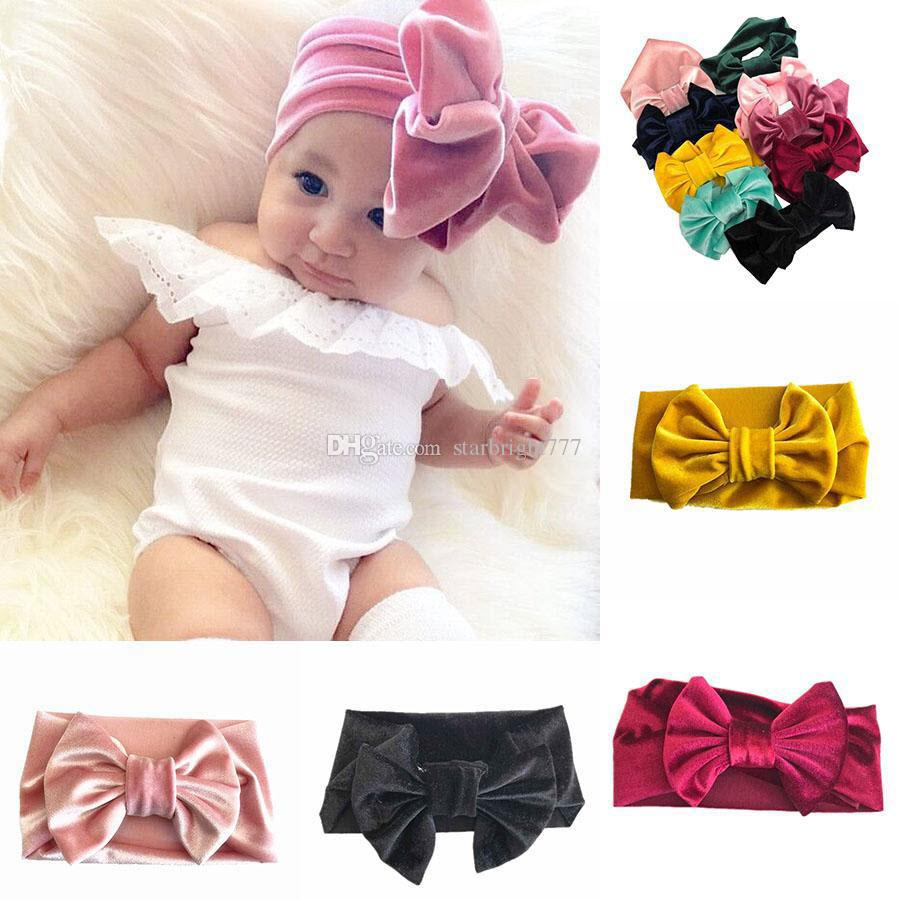 crianças meninas de ouro de veludo Bow headbands bowknot banda Princesa Cabelo novas crianças Acessórios de cabelo Boutique 9 cores INS quente