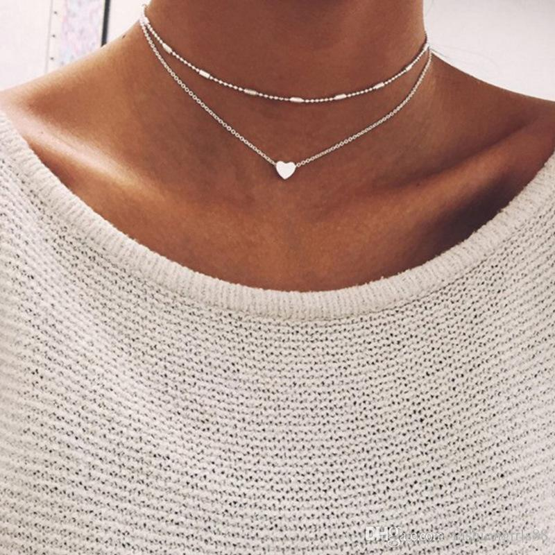 Corazón de la manera simple forma de collar de múltiples capas del encanto del amor del corazón Gargantillas colgante cadena de la clavícula mujeres Collares regalos de joyería de la boda