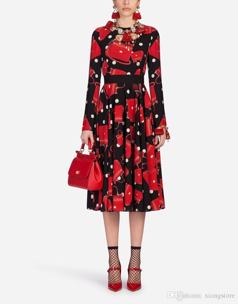 2019 Stampa New Fashion Runway Autumn Dress Manica lunga da donna O Collo Vintage stampato Red Bag Midi elegante abito medio lungo vestidos