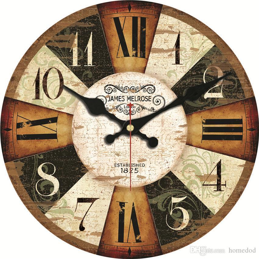 Vintage En bois horloges 16 pouces brève conception silencieux accueil Café Bureau Mur Décor horloges pour Cuisine Mur Art Grand Mur Horloges