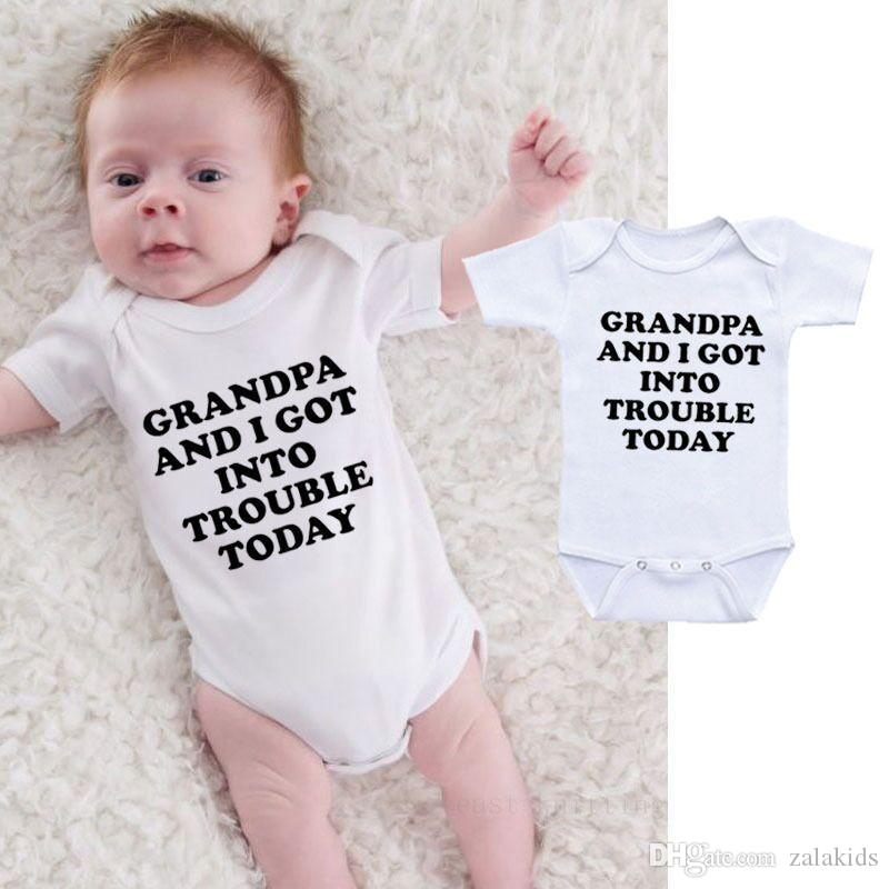 Funny Baby Onesie Bodysuit Infant Newborn GRANDPA AND I GOT INTO TROUBLE print Cotton Baby boy Girl clothes 2019 Summer Cheap Wholesale
