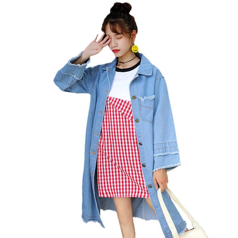 Blue Denim Trench Coat 2019 Primavera monopetto medio lungo Capispalla Donna Autunno Allentato Casual donna Slim Windbreaker JIA85