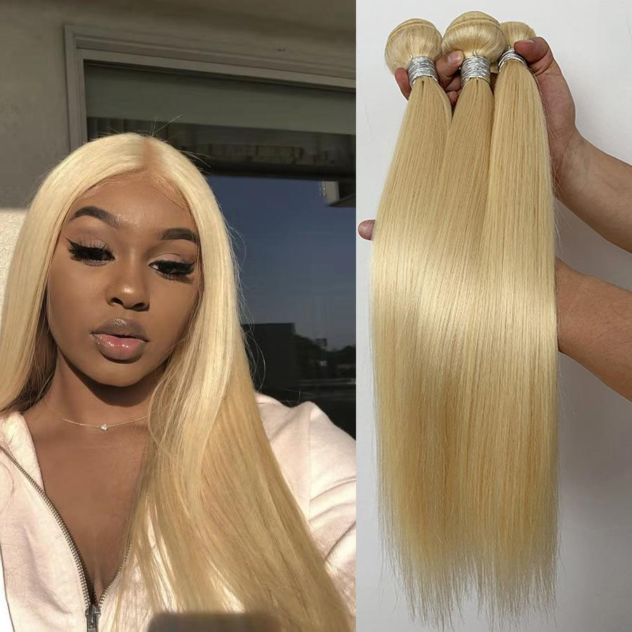 613 Remy Human Hair Weave droit brésilien Bundles 613 Blonde Virgin humaine non transformés Extensions de cheveux brésiliens de cheveux pour les femmes noires