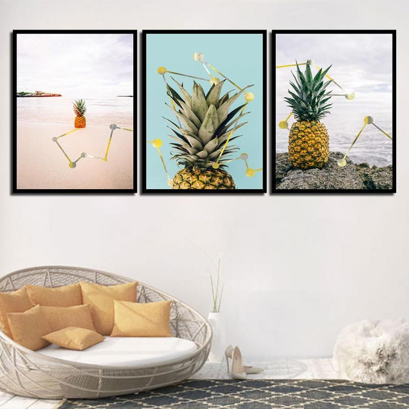 Modern Pineapple Seascape Geometric Painting Minimalist Poster Canvas Art A4 Nordic Style Print Hippie Wall Pictures Home Decor