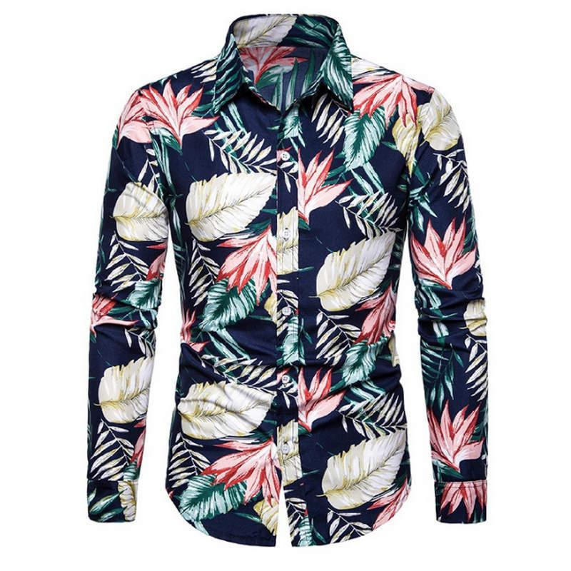 Hot Size: M-3XL/2019 New Flower Fashion Magazine Men's Long Sleeve and Long Sleeve Shirts in 8 Colors