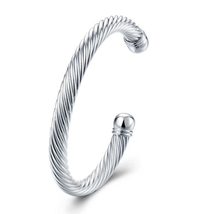 2020 New Luckyshine 6Pcs Holiday Gift Shiny Antique Pure 925 Sterling Silver Open Adjustable Bracelets Bangles Russia Bangles