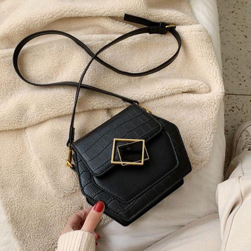 Steinmuster Schulter Umhängetasche 2020 Winter neuen Beutel der Frauen Art und Weise beiläufige kleinen Handy-Frauen Handtaschen