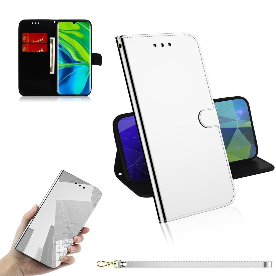 Für Xiaomi Mi note10 Pro Lmitated Spiegel Oberfläche Horizontal Flip Ledertasche mit Halter-Karten-Slots Wallet Lanyard
