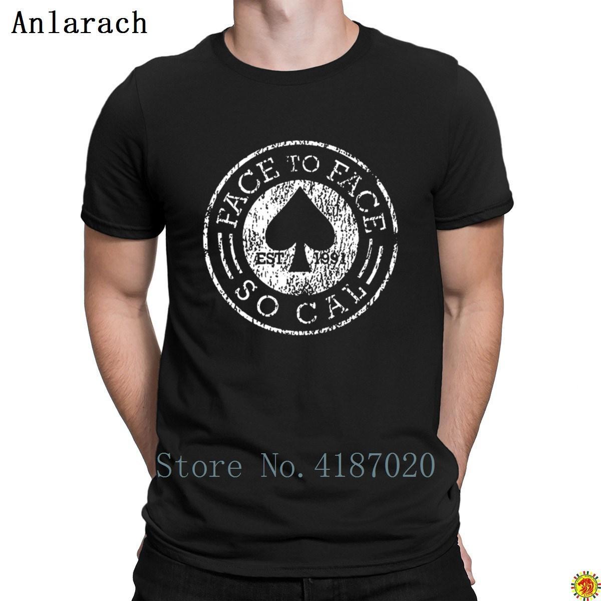 Лицом к лицу панк рок группа футболка весна осень интересные короткие рукава мужская футболка настроить хип-хоп натуральный Slim Fit