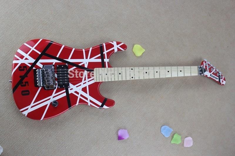 도매 - 재고 150604 새로운 브랜드 도착 크레이머 5150 빨간색과 흰색 EVH 시리즈 ARI 트레몰로 어쿠스틱 일렉트릭 기타 일렉트릭 기타