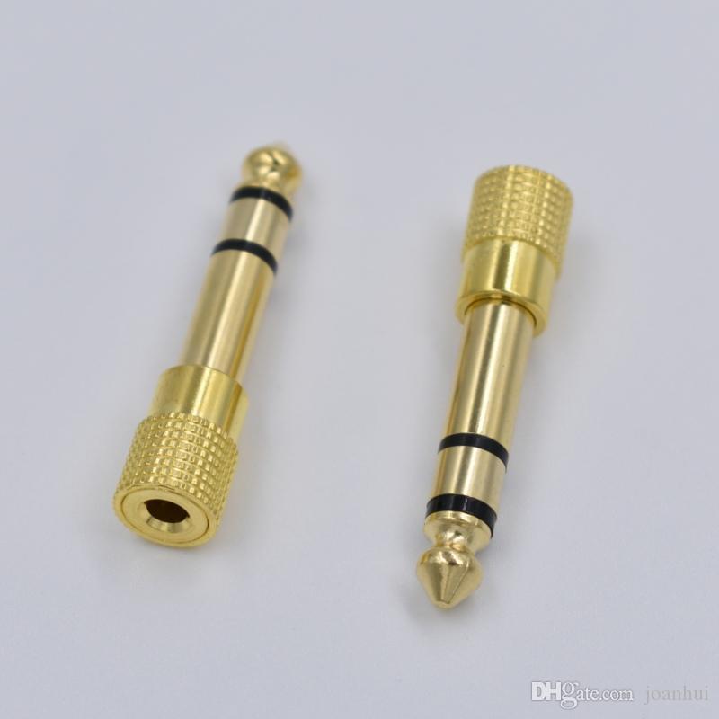 500pcs / lot Jack 6,35mm-Stecker auf 3,5 mm Buchse Kopfhörer-Verstärker Audio Adapter Mikrofon AUX 6,3 3,5 mm Converter