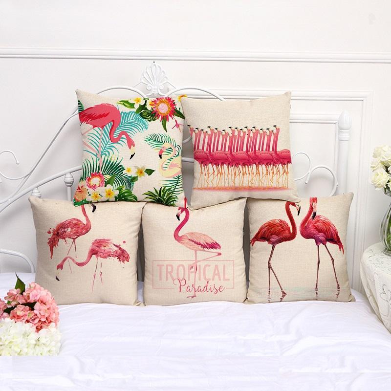 caso Tropical Flamingo Pillow cama Bohemian pássaro Pillowcover Algodão Linho carro étnico fronha sofá Quarto Lance Capa de Almofada 100g