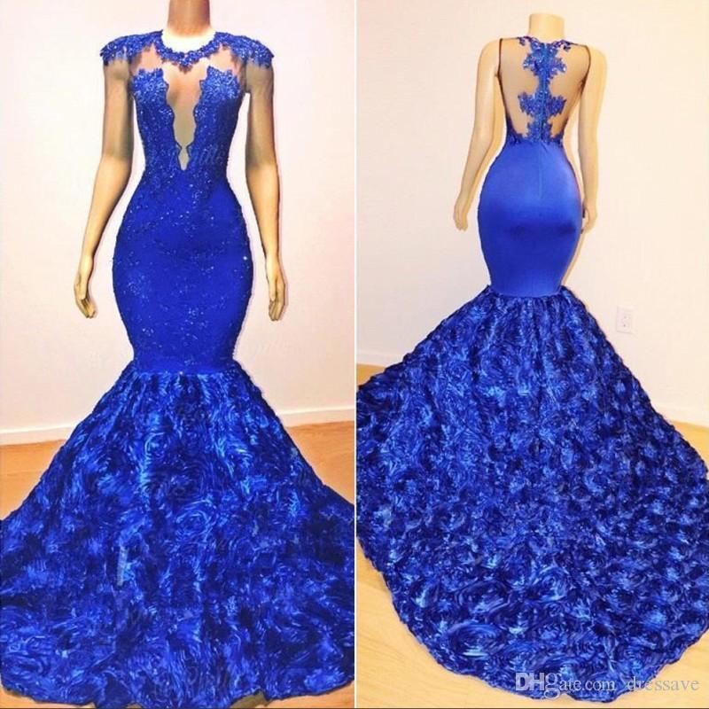 Sexy Royal Blue Mermaid Prom Dresses Sheer Neck Sleeveless Spitze Appliques Perlen Rose Blumen Abendkleid Party Pageant Formale Kleider