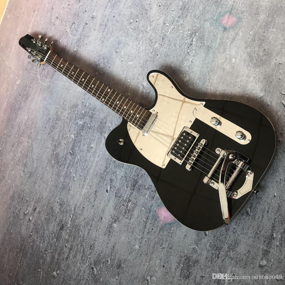 personalizada de fábrica 2019 nueva 39 pulgadas dividida eje de balancín largo cabeza de la guitarra eléctrica TELE pequeña negro, de encargo personalizada