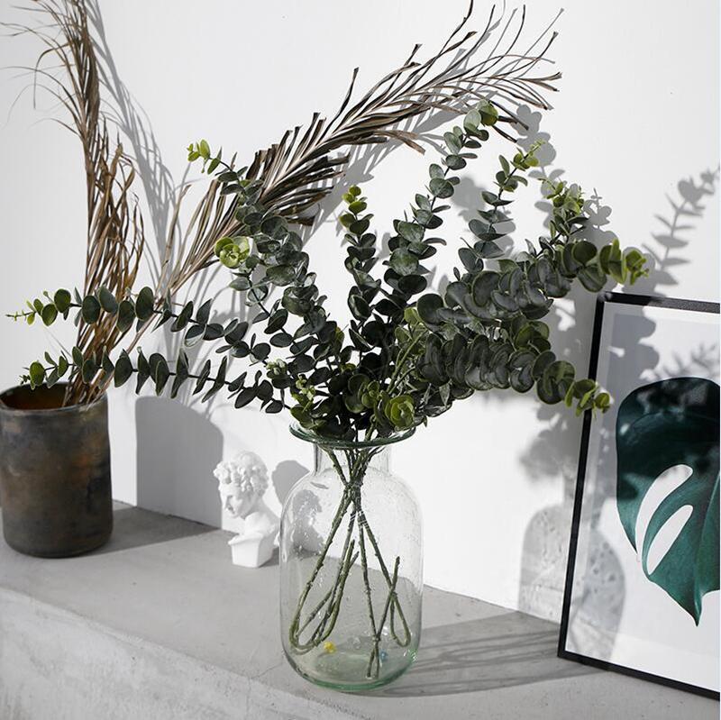 نباتات اصطناعية لينة البلاستيك نبات الكينا الأخضر فرع ديكور المنزل وهمية النبات يترك الزفاف الديكور محاكاة بونساي LJJA3052