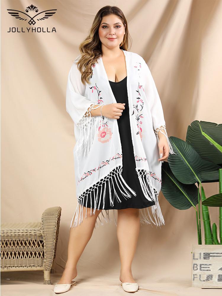 JollyHolla 2020 Frauen Bikini-Strand-Vertuschung-Badebekleidung Kimono Cardigan Quaste 3/4 Ärmel Blumendruck-böhmischer Kleid-Badeanzug