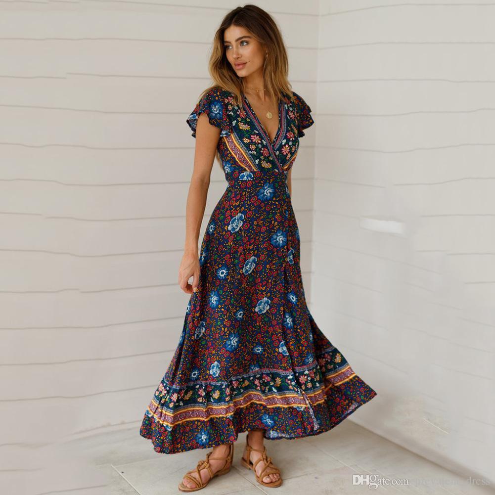 BOHO - Floral Print Turqoise Summer Wrap Dress