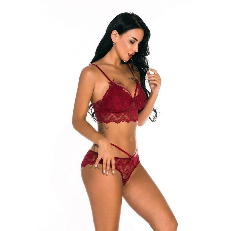 Mulheres Underwear Ultra Sexy Lingerie Bra Floral Sheer Lace Bralette e malha Panty Set com ajustável Spaghetti Preto Branco Vermelho Azul