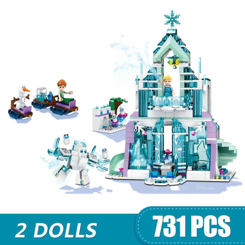 731PCS الصغيرة بناء كتل لعب متوافق مع Legoe ماجيك متألقة قلعة الثلج هدية للالفتيان والفتيات والأطفال DIY
