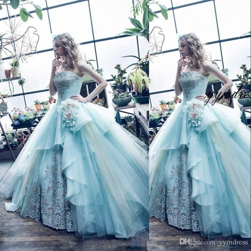 2019 New Strapless Ball Gown Quinceanera Dresses Embroidery Tulle Floor-length Sweet 16 Dresses Quinceanera Prom Dresses
