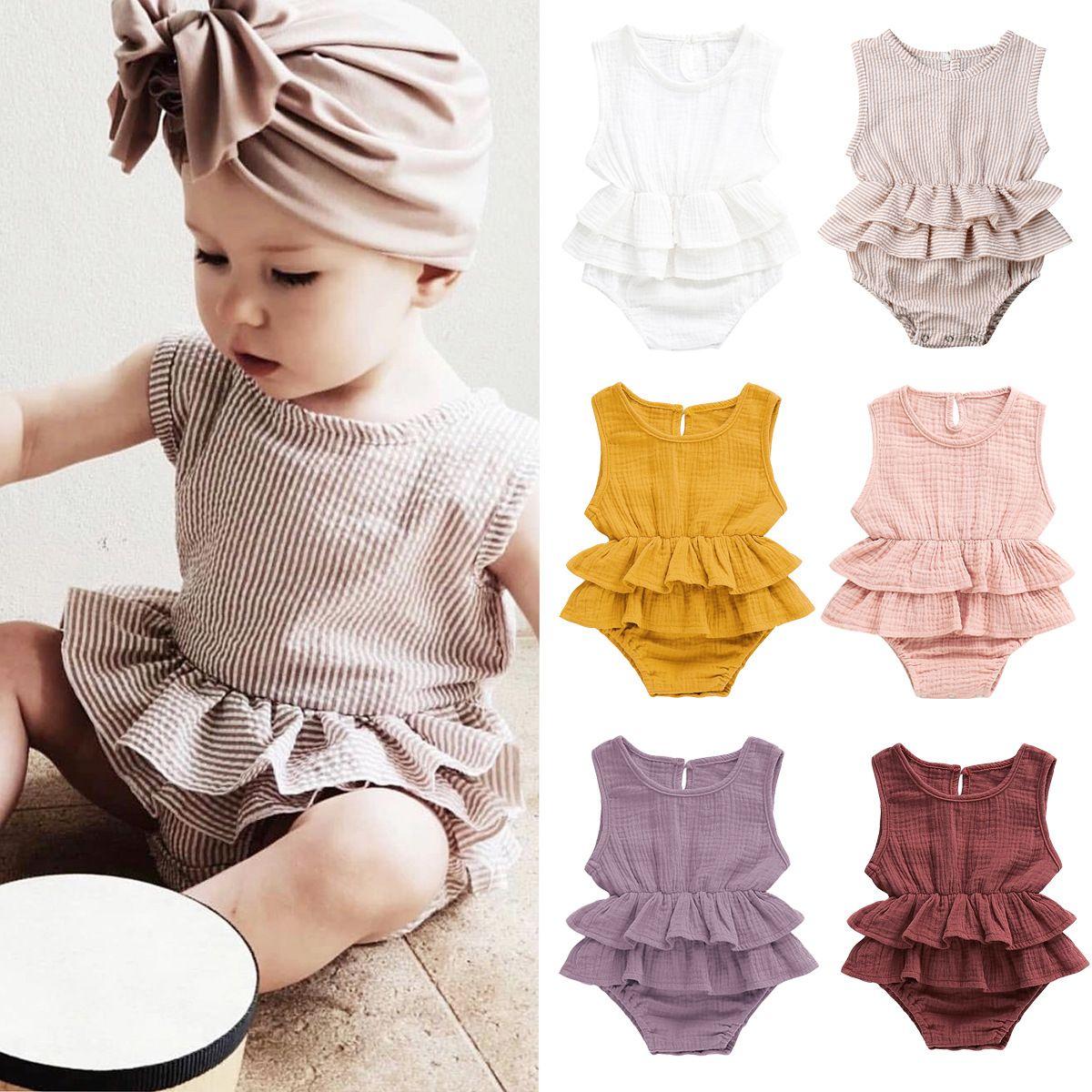 Baby Rüschen Strampler INS Mädchen Jungen Weste Overalls 2019 Sommer Mode Boutique Kinder Sleeveless Klettern Kleidung 7 Farben C6404