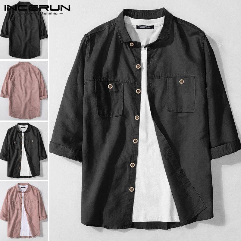 INCERUN Лета Мужчина Повседневной рубашка Люди Мода нагрудного Половина рукав рубашка Кнопка Streetwear Хлопок Камиз Solid Color Chic Блуза 5XL