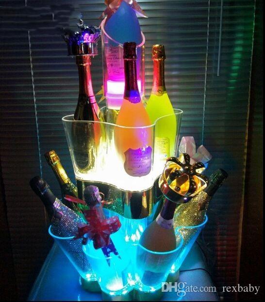 البلاستيك الصمام دلو الثلج ثلاثة طبقة حامل الشمبانيا بار نادي النبيذ برودة اللون تغيير ويسكي مبرد للحزب مطعم