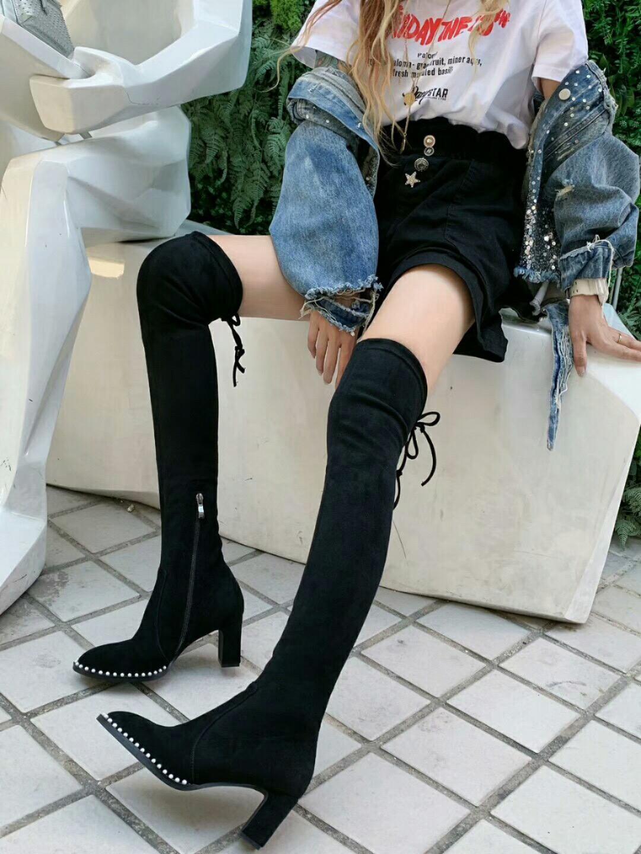 Vendita calda-Designer Donna Stivali sopra il ginocchio Stretch nero Stivali a metà coscia Martin Deserto donna stivaletti 6 centimetri scarpe stivali tacchi alti delle donne