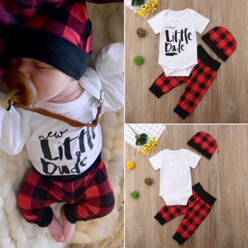 Newborn Infant Kid Baby Boy Clothes Short Sleeve Casual Cotton Letter O-neck Romper Pants Hat Bodysuit Sunsuit Outfits Clothes