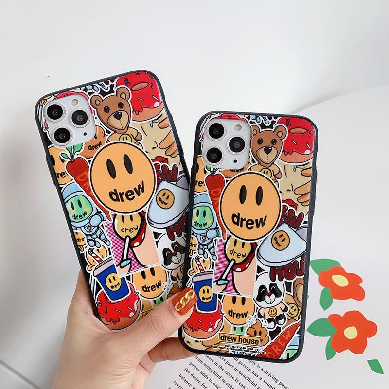Luxury trend brand Justin Bieber drew house Phone Case For iPhone X XS XR 11 Pro Max 8 7 Plus Smiley face soft TPU Cover