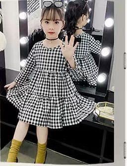 Cute Baby Girl Dress Primavera Plaid Manica Lunga Bambini Bowtie Abiti Casual Per Le Ragazze 4-13 anni Principessa Del Cotone Vestiti Dei Bambini